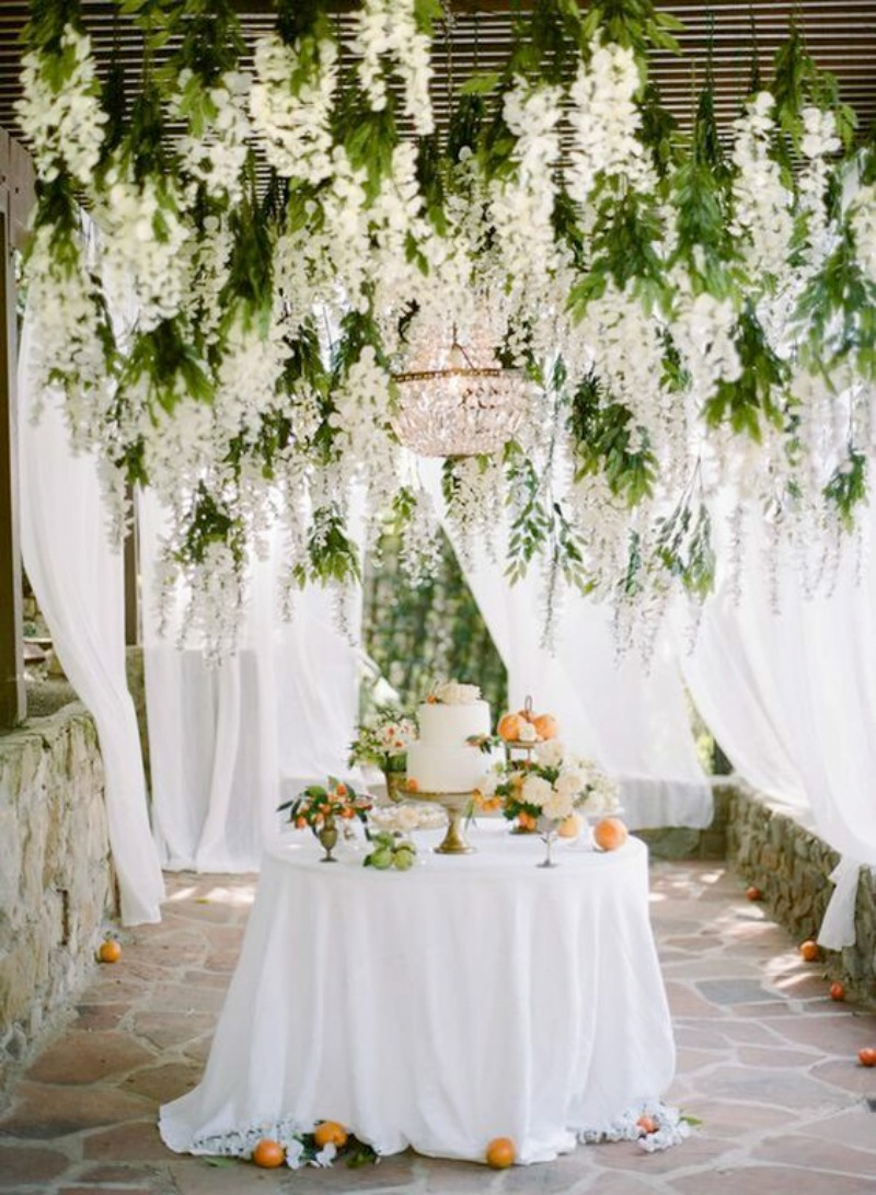 Suspended florals for weddings suspended floral for Floral wedding decorations ideas